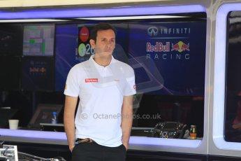 World © Octane Photographic Ltd. Infiniti Red Bull Racing RB11 and Total Fuels technichnian. Wednesday 20th May 2015, F1 Pitlane, Monte Carlo, Monaco. Digital Ref: 1270CB1L9243