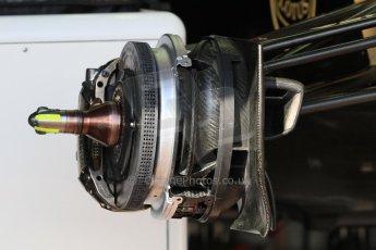 World © Octane Photographic Ltd. Lotus F1 Team E23 Hybrid front brake. Wednesday 20th May 2015, F1 Pitlane, Monte Carlo, Monaco. Digital Ref:  1270CB7D2465