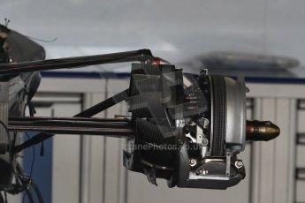 World © Octane Photographic Ltd. Williams Martini Racing FW37 gearbox, rear suspension and rear brakes. Wednesday 20th May 2015, F1 Pitlane, Monte Carlo, Monaco. Digital Ref:  1270CB7D2468