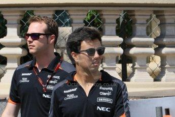 World © Octane Photographic Ltd. Sahara Force India VJM08 – Sergio Perez. Wednesday 20th May 2015, F1 Track walk, Monte Carlo, Monaco. Digital Ref: 1270CB7D2497