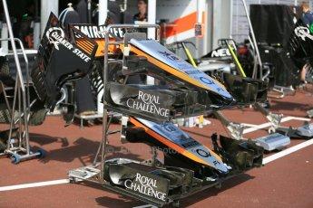 World © Octane Photographic Ltd. Sahara Force India VJM08 noses. Wednesday 20th May 2015, F1 Pitlane, Monte Carlo, Monaco. Digital Ref:  1270LB5D2451