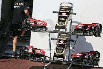 World © Octane Photographic Ltd. Lotus F1 Team E23 Hybrid noses. Wednesday 20th May 2015, F1 Pitlane, Monte Carlo, Monaco. Digital Ref:  1270LB5D2477