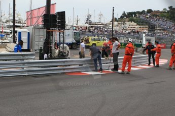 World © Octane Photographic Ltd. Saturday 23rd May 2015. Barrier being repaired at the swimming pool entry. WSR (World Series by Renault - Formula Renault 3.5) Qualifying – Monaco, Monte-Carlo. Digital Ref. : 1280CB1L0909