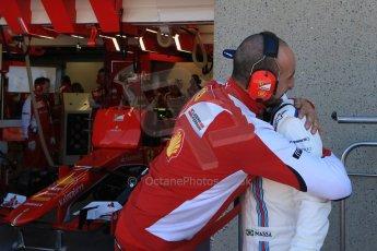 World © Octane Photographic Ltd. Williams Martini Racing FW37 – Felipe Massa and Ferrari mechanic. Saturday 6th June 2015, F1 Canadian GP Practice 3 pitlane, Circuit Gilles Villeneuve, Montreal, Canada. Digital Ref: 1295CB7D0774