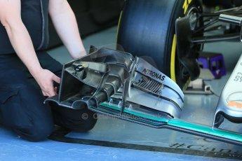 World © Octane Photographic Ltd. Mercedes AMG Petronas F1 W06 Hybrid – Lewis Hamilton front wing detail. Saturday 6th June 2015, F1 Canadian GP Practice 3 pitlane, Circuit Gilles Villeneuve, Montreal, Canada. Digital Ref: 1295LB1D0740