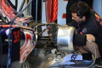 World © Octane Photographic Ltd. Scuderia Toro Rosso STR10 – Max Verstappen rear brakes. Saturday 6th June 2015, F1 Canadian GP Practice 3 pitlane, Circuit Gilles Villeneuve, Montreal, Canada. Digital Ref: 1295LB1D0782
