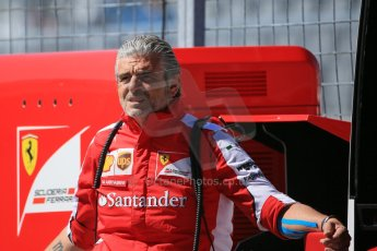 World © Octane Photographic Ltd. Scuderia Ferrari – Maurizio Arrivabene. Saturday 6th June 2015, F1 Canadian GP Practice 3 pitlane, Circuit Gilles Villeneuve, Montreal, Canada. Digital Ref: 1295LB1D1057