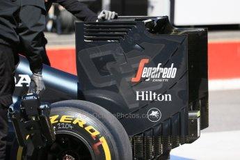 World © Octane Photographic Ltd. McLaren Honda MP4/30 - Jenson Button rear wing endplate. Saturday 6th June 2015, F1 Canadian GP Practice 3 pitlane, Circuit Gilles Villeneuve, Montreal, Canada. Digital Ref: 1295LB1D1305