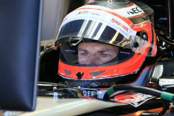 World © Octane Photographic Ltd. Sahara Force India VJM08 – Nico Hulkenberg. Saturday 6th June 2015, F1 Canadian GP Practice 3 pitlane, Circuit Gilles Villeneuve, Montreal, Canada. Digital Ref: 1295LB1D1405
