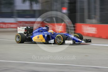 World © Octane Photographic Ltd. Sauber F1 Team C34-Ferrari – Marcus Ericsson. Friday 18th September 2015, F1 Singapore Grand Prix Practice 1, Marina Bay. Digital Ref: