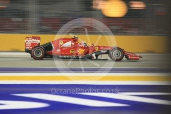 World © Octane Photographic Ltd. Scuderia Ferrari SF15-T– Kimi Raikkonen. Friday 18th September 2015, F1 Singapore Grand Prix Practice 2, Marina Bay. Digital Ref: 1429CB5D0436