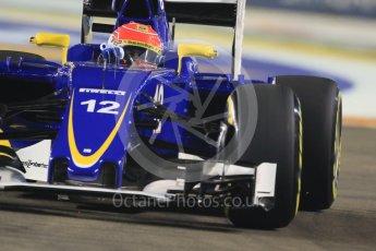 World © Octane Photographic Ltd. Sauber F1 Team C34-Ferrari – Felipe Nasr. Friday 18th September 2015, F1 Singapore Grand Prix Practice 2, Marina Bay. Digital Ref: 1429CB7D0332