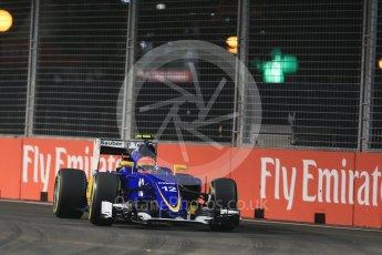 World © Octane Photographic Ltd. Sauber F1 Team C34-Ferrari – Felipe Nasr. Friday 18th September 2015, F1 Singapore Grand Prix Practice 2, Marina Bay. Digital Ref: 1429LB1D5837