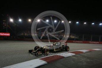 World © Octane Photographic Ltd. Lotus F1 Team E23 Hybrid – Romain Grosjean. Friday 18th September 2015, F1 Singapore Grand Prix Practice 2, Marina Bay. Digital Ref: 1429LB1D6449