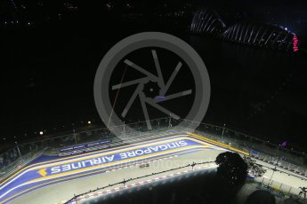 World © Octane Photographic Ltd. Friday 18th September 2015, F1 Singapore Grand Prix Practice 2, View of circuit from Singapore Flyer. Marina Bay. Digital Ref: 1429LB1D6679