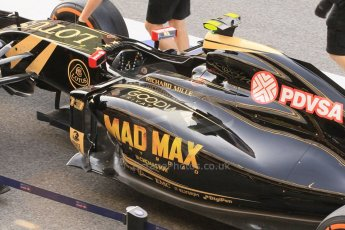 World © Octane Photographic Ltd. Lotus F1 Team E23 Hybrid with Mad Max livery – Pastor Maldonado. Friday 8th May 2015, F1 Spanish GP Formula 1 pre-practice 1 pitlane, Circuit de Barcelona-Catalunya, Spain. Digital Ref: 1248CB1L5919