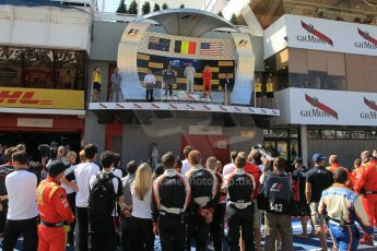 World © Octane Photographic Ltd. Saturday 9th May 2015. ART Grand Prix – Stoffel Vandoorne (1st), Russian Time – Mitch Evans (2nd) and Racing Engineering – Alexander Rossi (3rd). GP2 Race 1 – Circuit de Barcelona–Catalunya. Spain. Digital Ref: