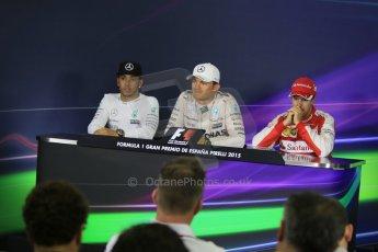World © Octane Photographic Ltd. Mercedes AMG Petronas F1 W06 Hybrid – Nico Rosberg (1st), Lewis Hamilton (2nd) and Scuderia Ferrari SF15-T– Sebastian Vettel (3rd). Sunday 10th May 2015, F1 Spanish GP Formula 1 Post-Race press conference, Circuit de Barcelona-Catalunya, Spain. Digital Ref: 1267CB7D0919
