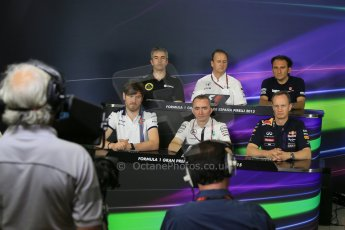 World © Octane Photographic Ltd. Nick Chester – Lotus F1 Team - Technical Director, Jonathan Neale - McLaren Honda Managing Director, Giampaolo Dall'Ara, Sauber F1 Team Head of Track Engineering, Rob Smedley – Williams - Head of Vehicle Performance, Paddy Lowe - Executive Director of Mercedes Formula One and Paul Monaghan, Red Bull Racing Chief Engineer. Friday 8th May 2015, F1 Spanish GP. Team Press Conference, Circuit de Barcelona-Catalunya, Spain. Digital Ref: 1254LB1D7449