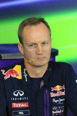 World © Octane Photographic Ltd. Paul Monaghan, Red Bull Racing Chief Engineer. Friday 8th May 2015, F1 Spanish GP. Team Press Conference, Circuit de Barcelona-Catalunya, Spain. Digital Ref: 1254LB7D6881