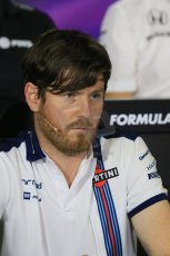 World © Octane Photographic Ltd. Rob Smedley – Williams - Head of Vehicle Performance. Friday 8th May 2015, F1 Spanish GP. Team Press Conference, Circuit de Barcelona-Catalunya, Spain. Digital Ref: 1254LB7D6892