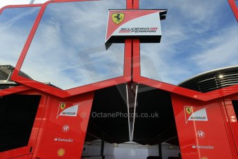 World © Octane Photographic Ltd. Scuderia Ferrari Motorhome. Thursday 7th May 2015, F1 Spanish GP Paddock, Circuit de Barcelona-Catalunya, Spain. Digital Ref: 1244CB1L5795
