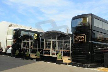 World © Octane Photographic Ltd. Lotus F1 Team Motorhome. Thursday 7th May 2015, F1 Spanish GP Paddock, Circuit de Barcelona-Catalunya, Spain. Digital Ref: 1244CB1L5802