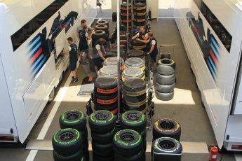 World © Octane Photographic Ltd. Williams Martini Racing wheel and tyres. Thursday 7th May 2015, F1 Spanish GP Paddock, Circuit de Barcelona-Catalunya, Spain. Digital Ref: 1244CB1L5858