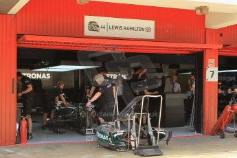World © Octane Photographic Ltd. Mercedes AMG Petronas F1 W06 Hybrid – Lewis Hamilton. Thursday 7th May 2015, F1 Spanish GP Pitlane, Circuit de Barcelona-Catalunya, Spain. Digital Ref: 1244CB1L5864