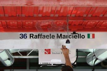 World © Octane Photographic Ltd. Sauber F1 Team Reserve Driver– Raffaele Marciello. Thursday 7th May 2015, F1 Spanish GP Pitlane Circuit de Barcelona-Catalunya, Spain. Digital Ref: 1244CB7D1370