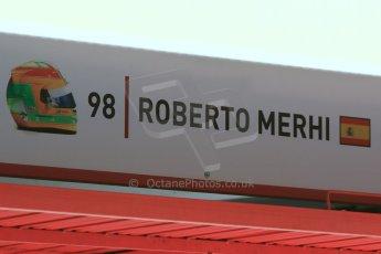 World © Octane Photographic Ltd. Manor Marussia F1 Team – Roberto Merhi. Thursday 7th May 2015, F1 Spanish GP Pitlane, Circuit de Barcelona-Catalunya, Spain. Digital Ref: 1244CB7D1385