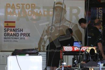 World © Octane Photographic Ltd. Lotus F1 Team E23 Hybrid – Pastor Maldonado. Thursday 7th May 2015, F1 Spanish GP Pitlane, Circuit de Barcelona-Catalunya, Spain. Digital Ref: 1244CB7D1396