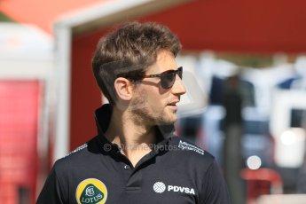 World © Octane Photographic Ltd. Lotus F1 Team E23 Hybrid – Romain Grosjean. Thursday 7th May 2015, F1 Spanish GP Paddock, Circuit de Barcelona-Catalunya, Spain. Digital Ref: 1244CB7D1500