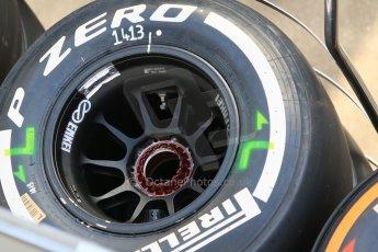 World © Octane Photographic Ltd. McLaren Honda MP4/30 rear wheels. Thursday 7th May 2015, F1 Spanish GP Paddock, Circuit de Barcelona-Catalunya, Spain. Digital Ref: 1244CB7D1602