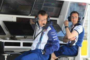 World © Octane Photographic Ltd. Williams Martini Racing pitwall. Thursday 7th May 2015, F1 Spanish GP Pitlane, Circuit de Barcelona-Catalunya, Spain. Digital Ref: 1244CB7D1664