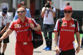 World © Octane Photographic Ltd. Scuderia Ferrari SF15-T– Kimi Raikkonen. Thursday 7th May 2015, F1 Spanish GP Paddock, Circuit de Barcelona-Catalunya, Spain. Digital Ref: 1244LB1D5518