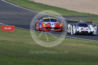 World © Octane Photographic Ltd. FIA World Endurance Championship (WEC), 6 Hours of Nurburgring , Germany - Practice 3, Saturday 29th August 2015. Porsche Team – Porsche 919 Hybrid - LM LMP1 – Romain Dumas, Neel Jani and Marc Lieb and AF Corse - F458 Italia GT2 - LMGTE - LMGTE Am – Francois Perrodo, Emmanuel Collard and Rui Aguas. Digital Ref : 1395LB1D5555