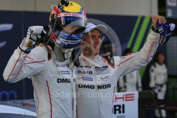 World © Octane Photographic Ltd. FIA World Endurance Championship (WEC), 6 Hours of Nurburgring , Germany – Race parc ferme, Sunday 30th August 2015. Porsche Team – Porsche 919 Hybrid - LMP1 - Timo Bernhard and Mark Webber (1st). Digital Ref : 1399LB5D2158