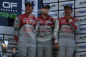 World © Octane Photographic Ltd. FIA World Endurance Championship (WEC), 6 Hours of Nurburgring , Germany - Race podium, Sunday 30th August 2015. Audi Sport Team Joest- Audi R18 e-tron Quatrro - LMP1 - Andre Lotterer, Benoit Treluyer and Marcel Fassler. Digital Ref : 1399LB5D2199