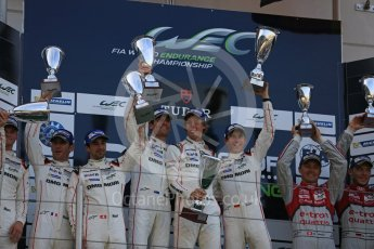 World © Octane Photographic Ltd. FIA World Endurance Championship (WEC), 6 Hours of Nurburgring , Germany – Race podium, Sunday 30th August 2015. Porsche Team – Porsche 919 Hybrid - LMP1 - Timo Bernhard, Mark Webber and Brendon Hartley (1st), Romain Dumas, Neel Jani and Marc Lieb (2nd) and Audi Sport Team Joest- Audi R18 e-tron Quatrro - LMP1 - Oliver Jarvis, Lucas di Grassi and Loic Duval (3rd). Digital Ref : 1399LB5D2269