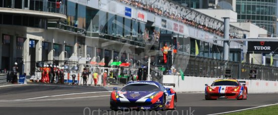 World © Octane Photographic Ltd. FIA World Endurance Championship (WEC), 6 Hours of Nurburgring , Germany - Race, Sunday 30th August 2015. SMP Racing – Ferrari F458 Italia GT2 - LMGTE Am – Viktor Shaitar, Aleksey Basov and Andrea Bertolini and AF Corse - F458 Italia GT2 - LMGTE - LMGTE Am – Francois Perrodo, Emmanuel Collard and Rui Aguas. Digital Ref : 1398LB1D7083