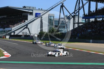 World © Octane Photographic Ltd. FIA World Endurance Championship (WEC), 6 Hours of Nurburgring , Germany - Race, Sunday 30th August 2015. The Porsche Team – Porsche 919 Hybrids - LM LMP1 of Romain Dumas, Neel Jani and Marc Lieb and Timo Bernhard, Mark Webber and Brendon Hartley ahead of the Audi Sport Team Joest- Audi R18 e-tron Quatrros of Andre Lotterer, Benoit Treluyer and Marcel Fassler and Oliver Jarvis, Lucas di Grassi and Loic Duval. Digital Ref : 1398LB5D1175