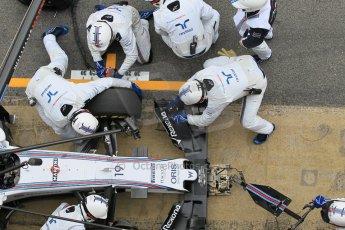 World © Octane Photographic Ltd. Williams Martini Racing FW37 – Felipe Massa practice pitstop. Saturday 21st February 2015, F1 Winter testing, Circuit de Barcelona Catalunya, Spain, Day 3. Digital Ref: 1190CB1L8101