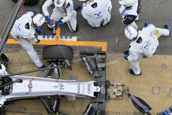 World © Octane Photographic Ltd. Williams Martini Racing FW37 – Felipe Massa practice pitstop. Saturday 21st February 2015, F1 Winter testing, Circuit de Barcelona Catalunya, Spain, Day 3. Digital Ref: 1190CB1L8106
