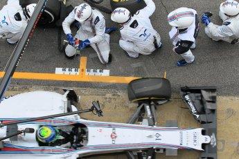 World © Octane Photographic Ltd. Williams Martini Racing FW37 – Felipe Massa practice pitstop. Saturday 21st February 2015, F1 Winter testing, Circuit de Barcelona Catalunya, Spain, Day 3. Digital Ref: 1190CB1L8114