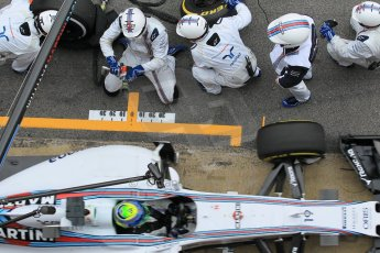 World © Octane Photographic Ltd. Williams Martini Racing FW37 – Felipe Massa practice pitstop. Saturday 21st February 2015, F1 Winter testing, Circuit de Barcelona Catalunya, Spain, Day 3. Digital Ref: 1190CB1L8115