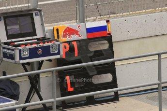 World © Octane Photographic Ltd. Infiniti Red Bull Racing RB11 – Daniil Kvyat's pit board. Saturday 21st February 2015, F1 Winter testing, Circuit de Barcelona Catalunya, Spain, Day 3. Digital Ref : 1190CB1L8168