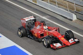 World © Octane Photographic Ltd. Scuderia Ferrari SF15-T– Sebastian Vettel. Saturday 21st February 2015, F1 Winter testing, Circuit de Barcelona Catalunya, Spain, Day 3. Digital Ref: 1190CB1L8584