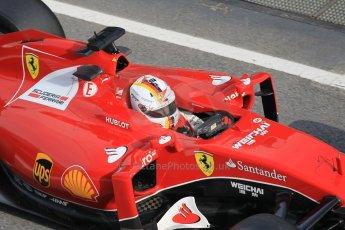 World © Octane Photographic Ltd. Scuderia Ferrari SF15-T– Sebastian Vettel. Saturday 21st February 2015, F1 Winter testing, Circuit de Barcelona Catalunya, Spain, Day 3. Digital Ref: 1190CB1L8590