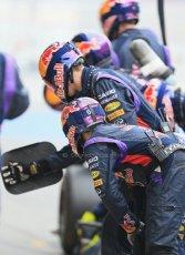 World © Octane Photographic Ltd. Infiniti Red Bull Racing RB11 – Daniil Kvyat - Pit crew. Saturday 21st February 2015, F1 Winter testing, Circuit de Catalunya, Barcelona, Spain, Day 3. Digital Ref : 1190LB1D8193